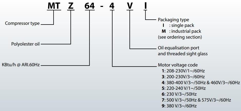 نحوه نامگذاری کمپرسور منیروپ دانفوس سری MTZ, MT
