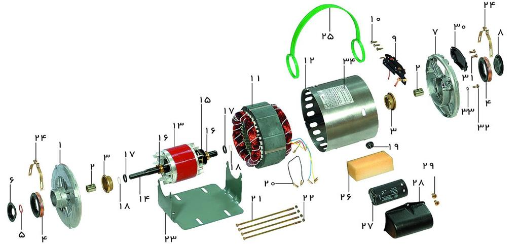اجزاءالکتروموتور کولری موتوژن
