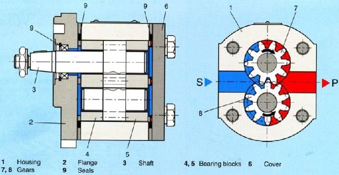 نقشه مهندسی تجهیزات داخلی و شمای کلی یک پمپ دنده ای خارجی
