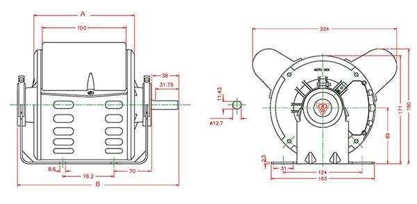 ابعاد الکتروموتور کولر موتوژن دو سرعته خازن دائم