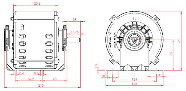 مشخصات ابعادی الکتروموتور کولر PM