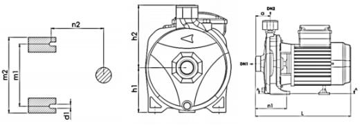 ابعاد الکتروپمپ آب خانگی نوید موتور CM100