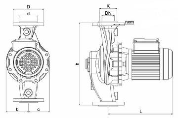 ابعاد پمپ سیرکولاتور خطی نوید موتور اتاترم 20-65