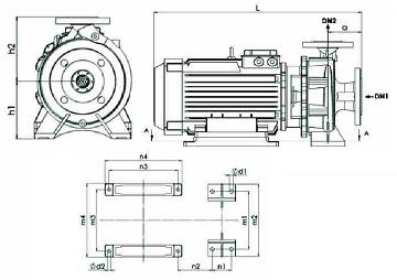 الکترو پمپ یک طبقه نوید موتور اتابلوک G 40-160/07 4 مکش از انتها