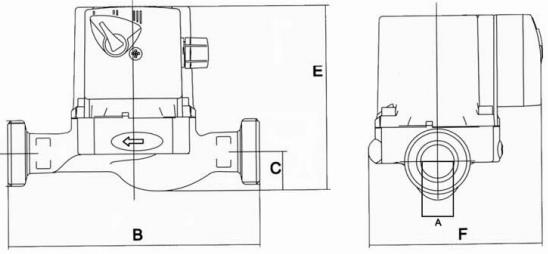 ابعاد الکترو پمپ سیرکولاتور آبگرد نوید موتور