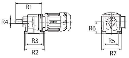 ابعاد گیربکس شافت مستقیم SEW سری R