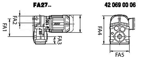 ابعاد گیربکس شافت موازی SEW FA27