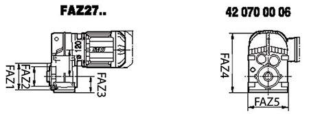 ابعاد گیربکس شافت موازی SEW FAZ