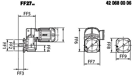 ابعاد گیربکس شافت موازی SEW FF