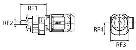 ابعاد گیربکس شافت مستقیم SEW سری RF