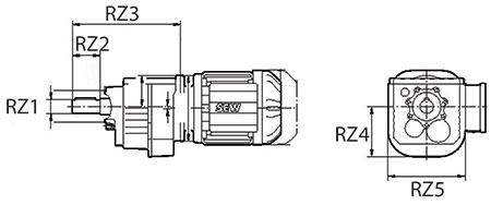 ابعاد گیربکس شافت مستقیم SEW سری RZ