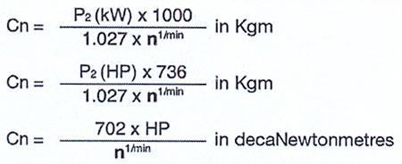 فرمول محاسبه نیروی گشتاور اسمی موتور