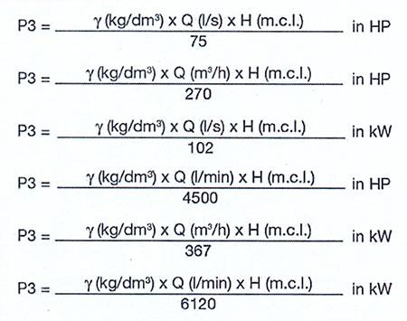 فرمول محاسبه توان پمپ