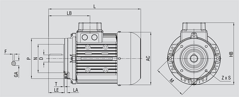 ابعاد الکتروموتور الکتروژن پایه فلنج B35