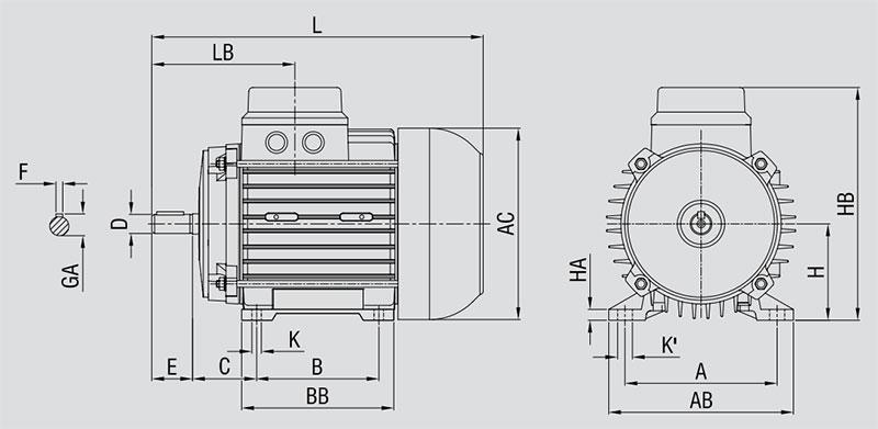 ابعاد الکتروموتورالکتروژن پایه دارB3